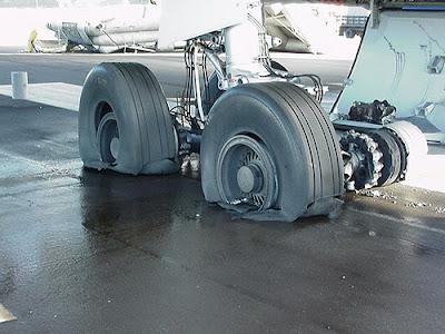 this aircraft got flat tyres