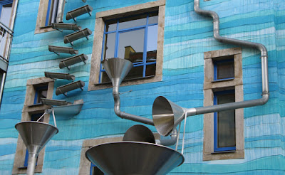 Exterior drainage system of a house in Dresden, Germany