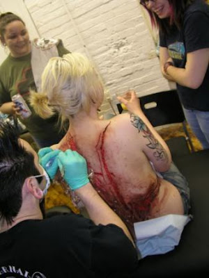 Tattooing in progress
