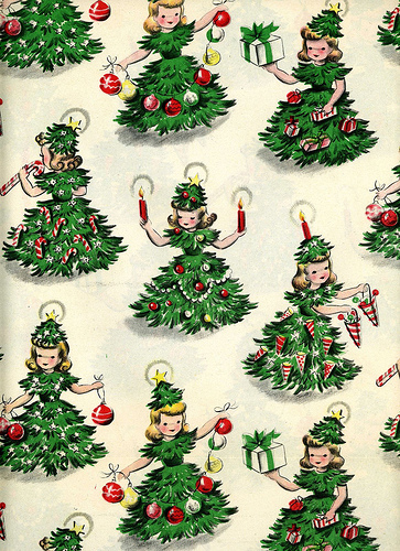 Very Merry Vint... Vintage Christmas Wrapping Paper