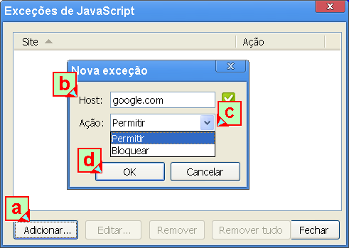 Exceções: permitir ou bloquear javascript para sites