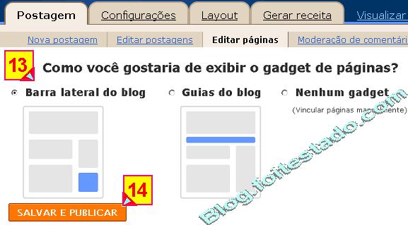 Escolher onde exibir o gadget de paginas