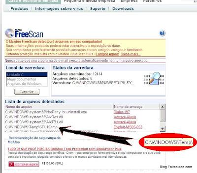 site seguro procurando víruz escaneando computador, detecta virus