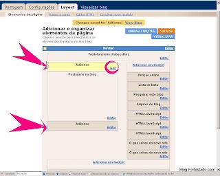 como colocar, como fica o layout do blogger, com Adsense acima ou abaixo do post no blogspot