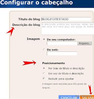 descriao do blog, posicionar logotipo no blogger