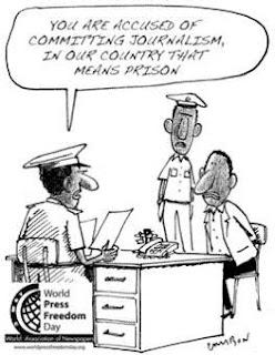 caricatura jornalista acusado de terrorismo
