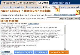 cópia de segurança de seu modelo, html do seu blogspot