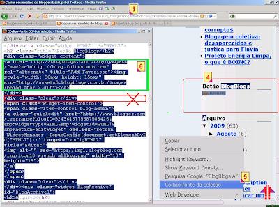 como copiar um widget do cache do google de seu blogspot usando o mozilla e codigo fonte