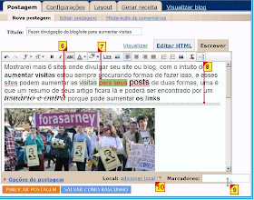 Destaques do novo editor WYSIWYG e html do blogger