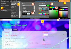 Onde muda estilo de fontes e cores, titulo e fundo de blog que usa o blogger