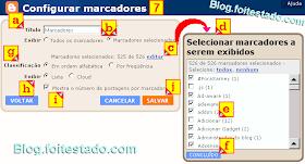 Configurar gadget marcadores do blogger