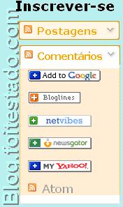 gadget para inscrição em feed, cores amarelo escuro ou laranja claro