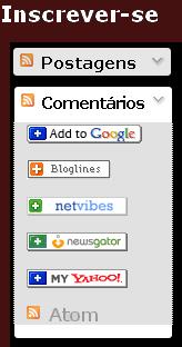 Gadget do blogger para inscrever-se em feed, cor cinza e link preto