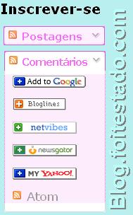 gadget do blogger para inscrição em feed, cor de rosa