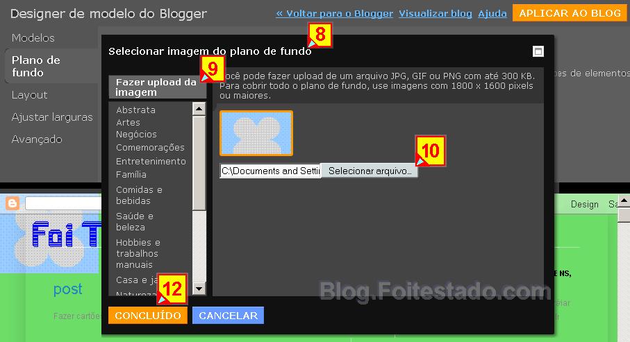Fazer upload de imagem do pc para o fundo no novo modelo do blogger