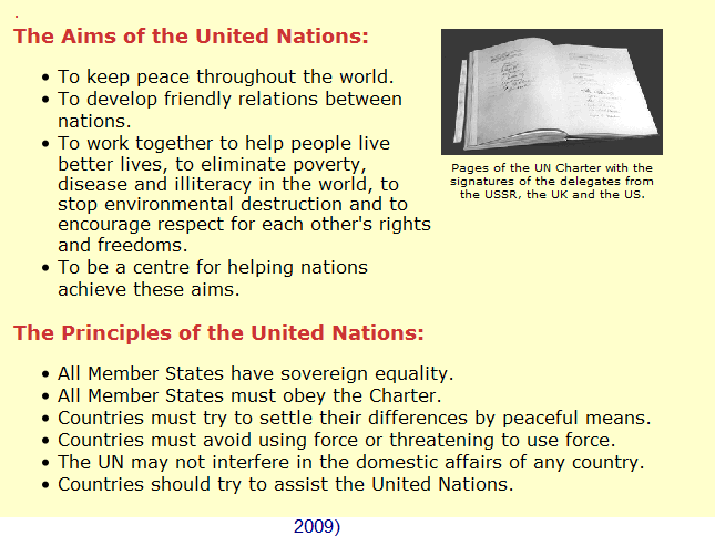 how does the un charter try to On this day in 1945, the united nations charter, which was adopted and signed on june 26, 1945, is now effective and ready to be enforced the united nations was born of perceived necessity, as a.
