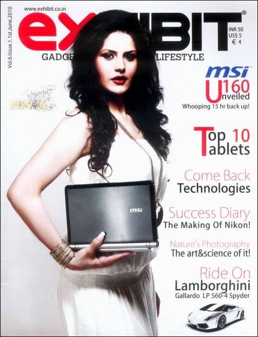 , Zarine Khan on cover of Exhibit Magazine