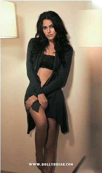Neha Dhupia in Black Lingerie for MAn's World July