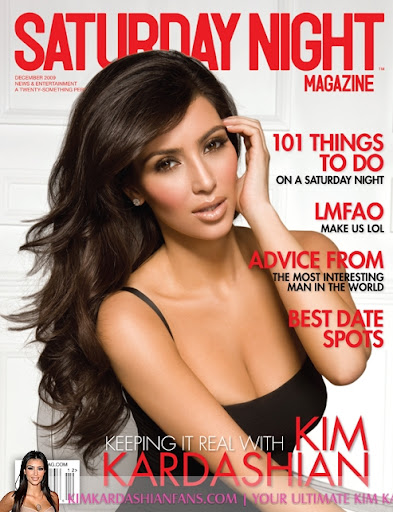 Hot Kim Kardashian on Saturday Night Magazine Cover
