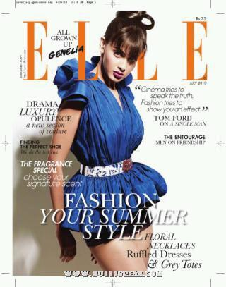 Sexy Genelia D'Souza feature on Elle July 2010