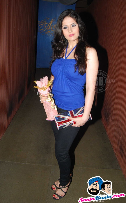 Sexy Zarine Khan in blue at Arpita Khan Birthday Party