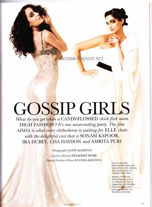 Sonam Kapoor Elle Magazine Scans August 2010
