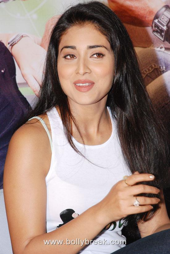 Shriya Saran Cute in White Top at Hot Look At Chikku Bhukku Audio Launch
