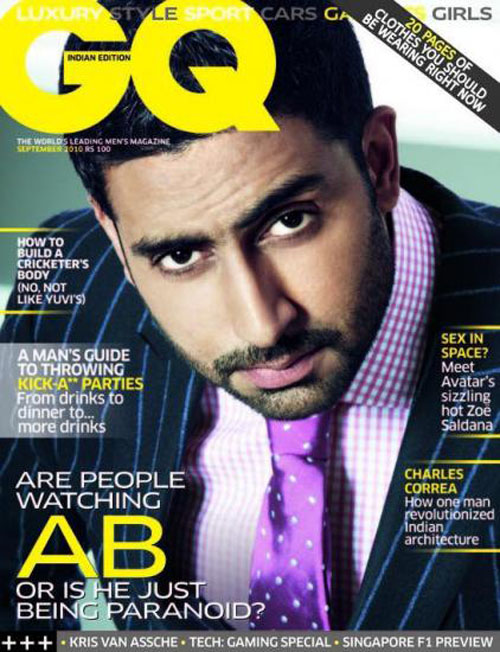 Abhishek Bachchan GQ Sep'10 Issue Cover Scan
