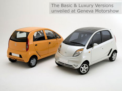 Tata Nano cars, the basic and luxury versions unveiled at the Geneva Motor Show