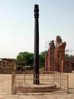 Ashoka Pillar, an iron pillar at the Qutab Minar complex, Delhi