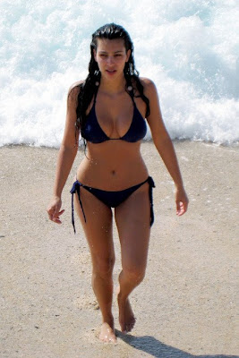 Kim Kardashian in black bikini