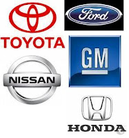 Logos from Toyota Nissan GM Honda and Ford