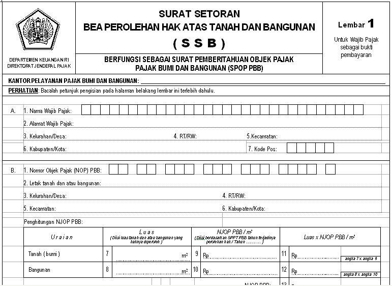 Pelayanan Pajak: SURAT SETORAN BEA / SSB BPHTB