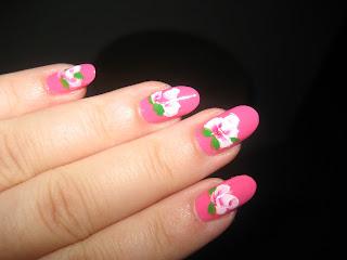 Beautiful Pink Tea Rose Nail Art-4
