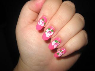 Beautiful Pink Tea Rose Nail Art-3