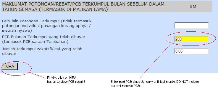 Malaysia PCB Income Tax Table