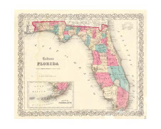 Map of Florida circa 1860
