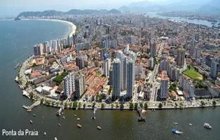 Santos, praias, bairros e estuário
