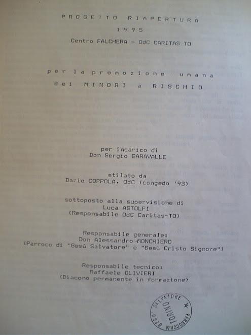 """""""PROGETTO RIAPERTURA CENTRO FALCHERA O.d.C. CARITAS"""" (documento integrale del 1995)"""