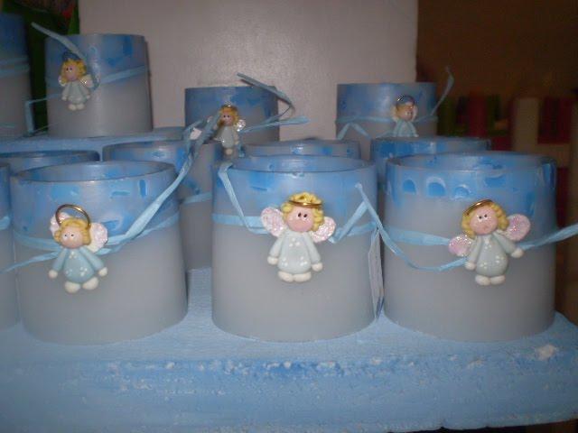 Fanales con apliques angeles en porcelana fria