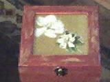 Caixa pintada à mão e técnica de guardanapo