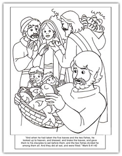 Jesus Loaves Fish Coloring Coloring Pages Loaves And Fishes Coloring Page