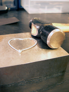 hammered heart with jewelry heart
