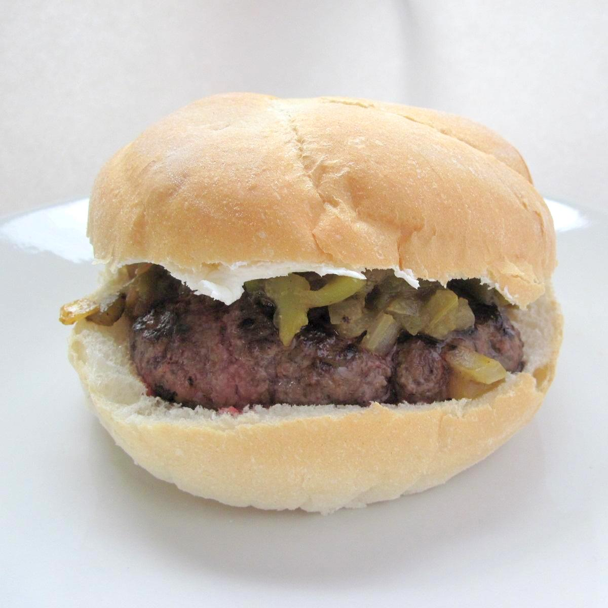 Green Chile Pepper And Cream Cheese Burgers Recipe — Dishmaps