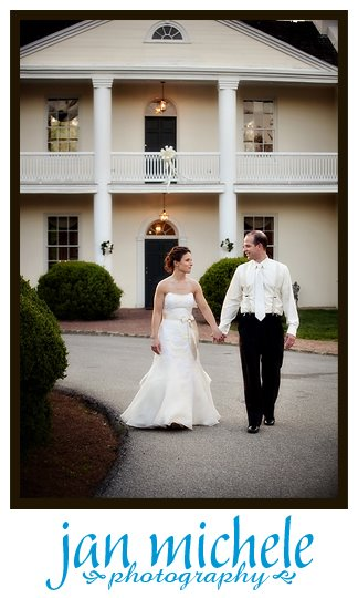 bride and groom at Mt. Airy Mansion at sunset