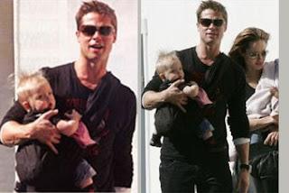 Και ο Brad Pitt, υπέροχος μπαμπάς, φοράει το μωρό του
