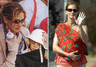 Η Julia Roberts με το μωρό της σε μάρσιπους αγκαλιάς