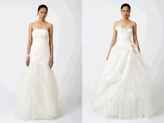 wedding dresses 2011 vera wang. LOVE these colored gowns.