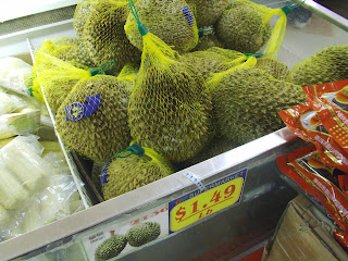 bin of durian fruit at Great Wall supermarket in Merrifield