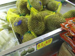 bin of durian fruit at Great Wall supermarket in Merrifield